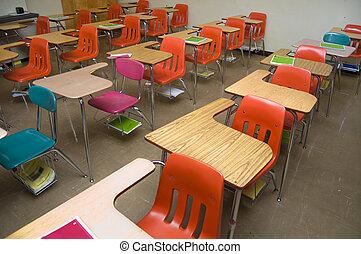 escola, vazio, escrivaninhas