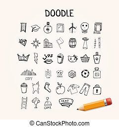 Set of doodle icons, hand-drawn objects