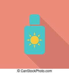 Sunscreen icon. Flat vector related icon with long shadow...
