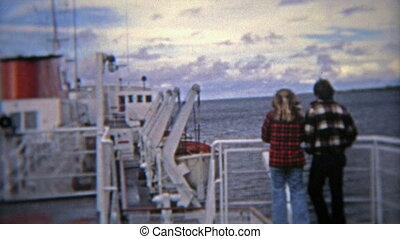 1974: Lovers on a ship dreaming - 100% unique vintage 8mm...