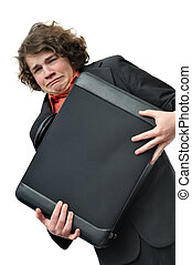Crying scared businessman with holding briefcase