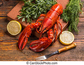 Lobster - Freshly cooked lobsters with lemon and herbs