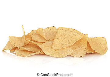 Tortilla Corn Chips - Tortilla corn chip snacks, isolated...