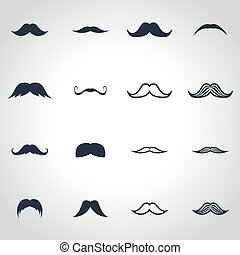 Vector black moustaches icon set on grey background