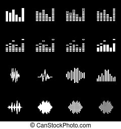 Vector white music soundwave icon set on black background