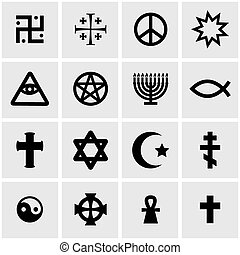 Vector black religious symbols set on grey background