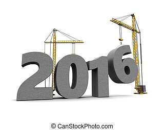 2016 new year - 3d illustration of cranes building 2016 year...