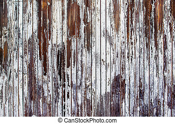 Old rustic wooden plank wall painted white