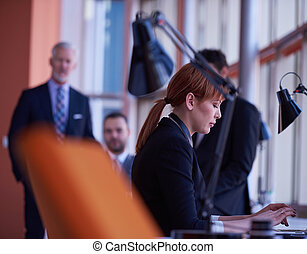 business woman working on computer at office - business...