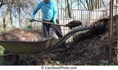 farmer compost barrow - Farmer man with fork dig compost...