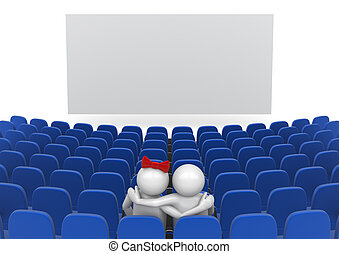 Date in cinema - Love, valentine day series; 3d isolated...