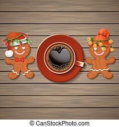 loving couple of gingerbread cookies and coffee cup with...