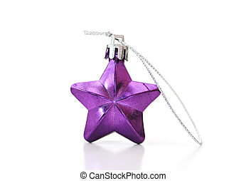 Purple star. Vintage Christmas decoration on a white background.