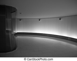 Building interior - Underground passageway in monochrome
