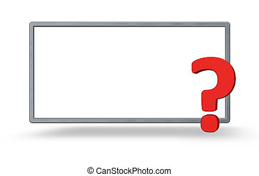 question - blank frame and question mark on white background...