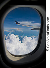 Jetplane Wingtip Through Window - Commercial airlener...