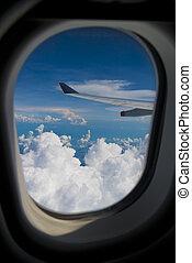 Jetplane Wingtip Through Window - Commercial airlener...