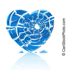 broken blue icy heart illustration