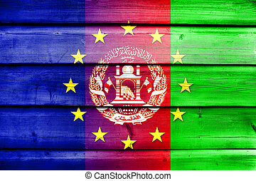 European Union and Afghanistan Flag on wood background