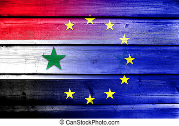 European Union and Syria Flag on wood background