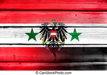 Syria and Austria Flag on wood background