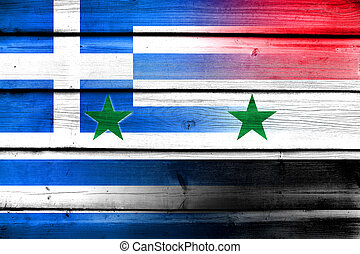 Syria and Greece Flag on wood background