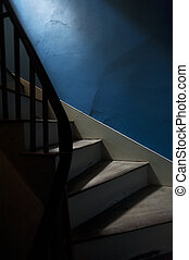 Staircase With A Blue Wall