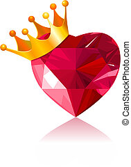 Crystal heart - Shiny crystal love heart with gold crown