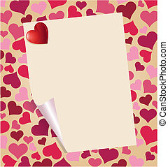 Valentine Background - Love letter with heart over beautiful...