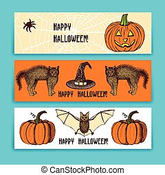 Sketch Halloween banners in vintage style, vector set