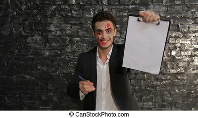 Male vampire offers to sell your soul. Copyspace. Man in the...