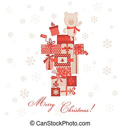 Vintage Christmas Card - Christmas Gifts with Bear - in vector
