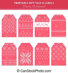 Christmas Retro Scandinavian Set - Tags, Labels, Cards, Banners - in vector