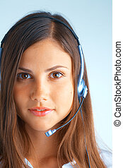Customer support - Support phone operator in headset on...