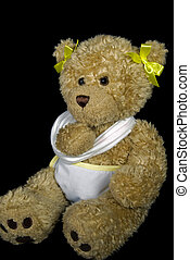 Hurting Teddy - Teddy bear with its paw in a sling.