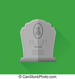 Grey Gravestone Isolated on Green Background Flat Design...