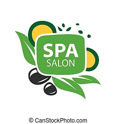 vector logo stones and leaves for spa salon