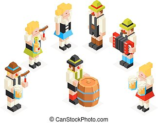 Man Woman Male Female Icons Set Oktoberfest Isometric 3d...