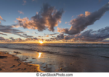 Lake Huron Beach at Sunset - Storm Clouds Over a Lake Huron...