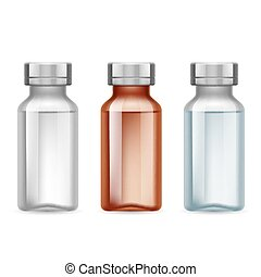 Medical vials - Set of small medical bottle dark and light