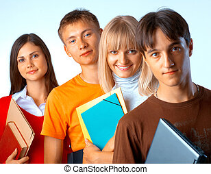 Students - Casual group of college students smiling stand in...