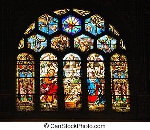 Stained Glass Creche - Nativity scene in stained glass...