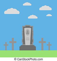 Grey Gravestone on Green Blue Background Flat Design