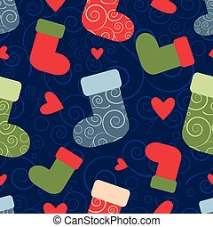 vector seamless christmas pattern with santa socks