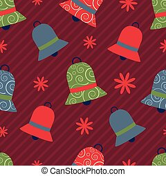 vector seamless christmas pattern with colorful bells
