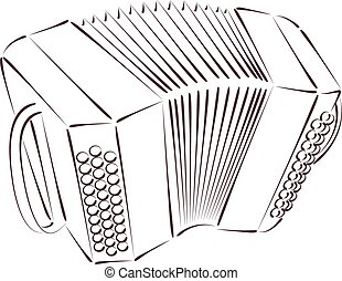 Sketched bandoneon - Sketched bandoneon concertina isolated...