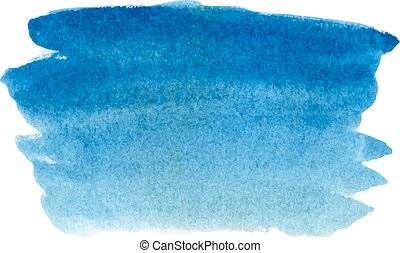 Watercolor background. - Abstract sky blue vector hand-drawn...