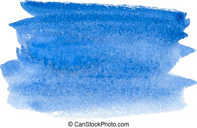 Watercolor background. - Abstract blue vector hand-drawn...