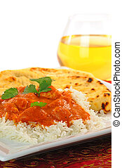 Indian Butter Chicken - Plate of indian butter chicken and...