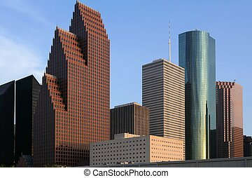 City skyscraper downtown buildings urban view Houston Texas